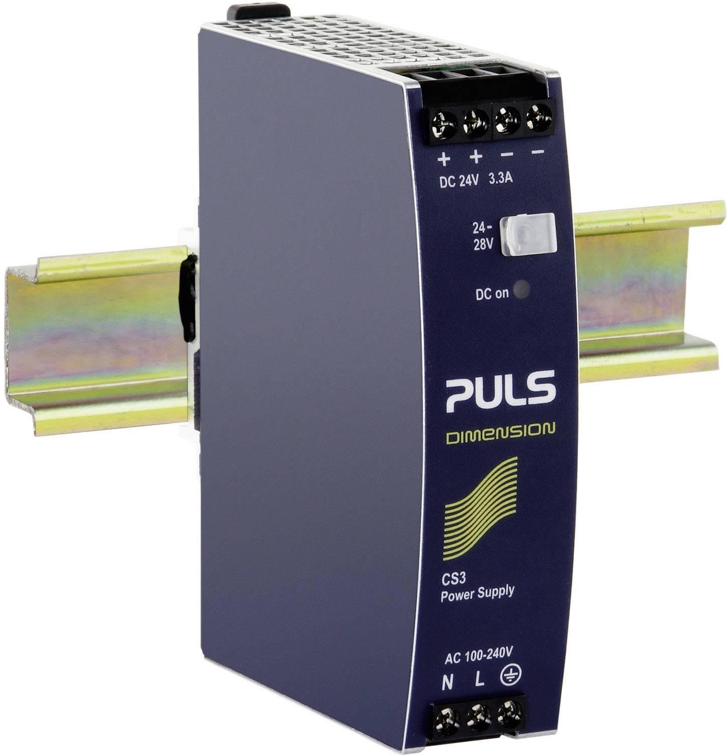 Sieťový zdroj na montážnu lištu (DIN lištu) PULS DIMENSION CS3.241, 1 x, 24 V/DC, 3.3 A, 80 W
