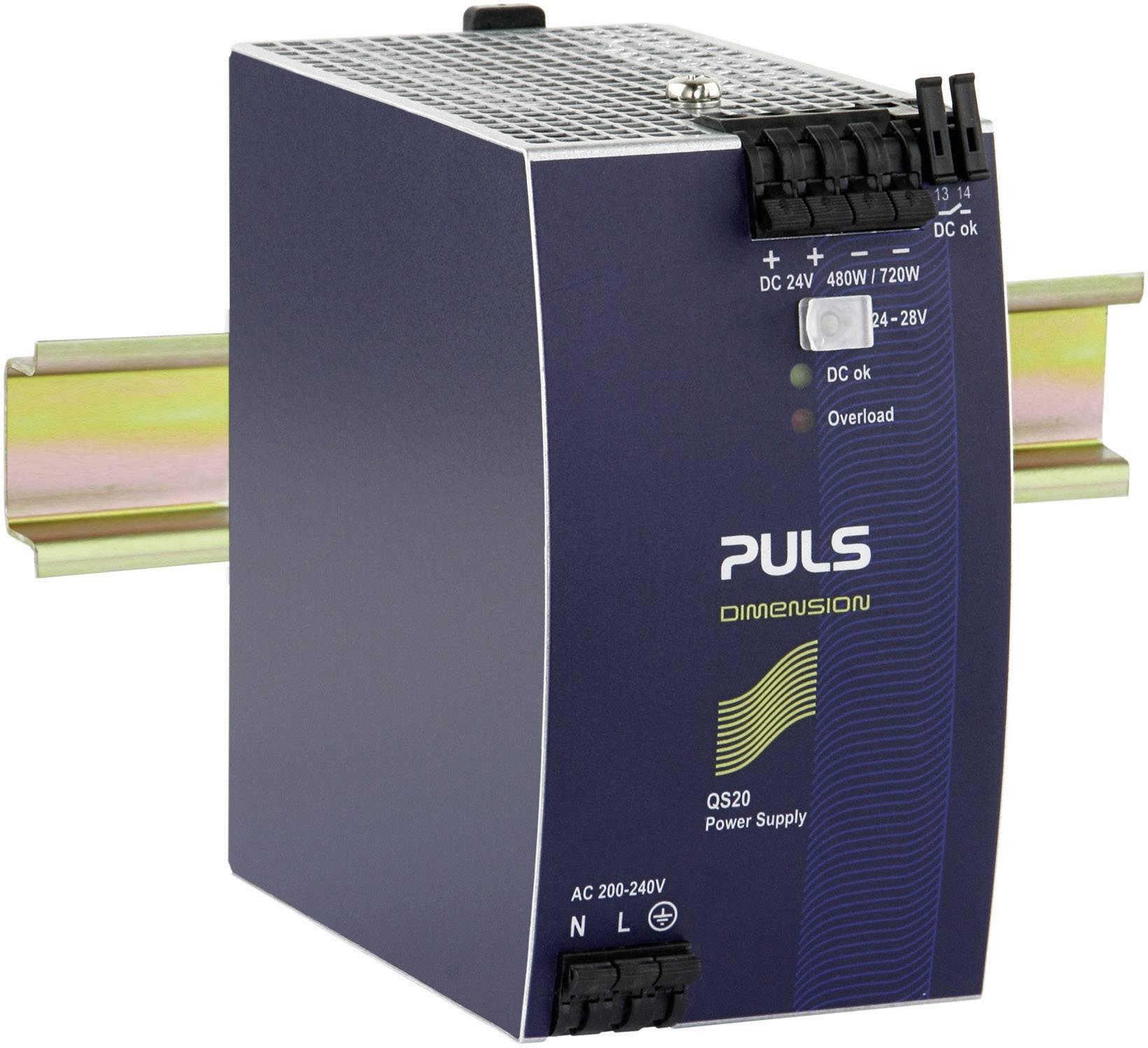 Sieťový zdroj na montážnu lištu (DIN lištu) PULS DIMENSION QS20.244, 1 x, 24 V/DC, 20 A, 480 W
