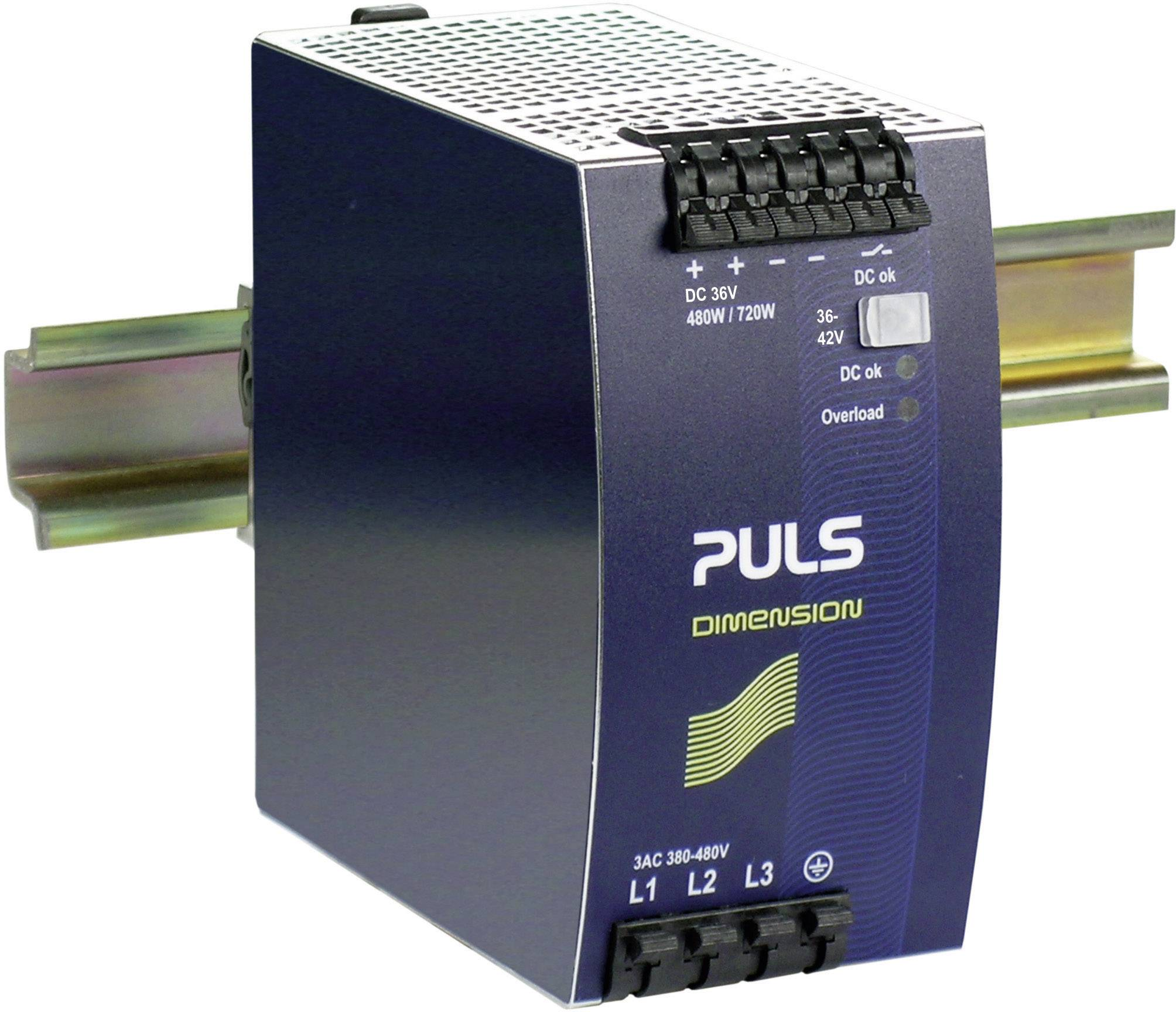 Sieťový zdroj na montážnu lištu (DIN lištu) PULS DIMENSION QT20.361, 1 x, 36 V/DC, 13.3 A, 480 W