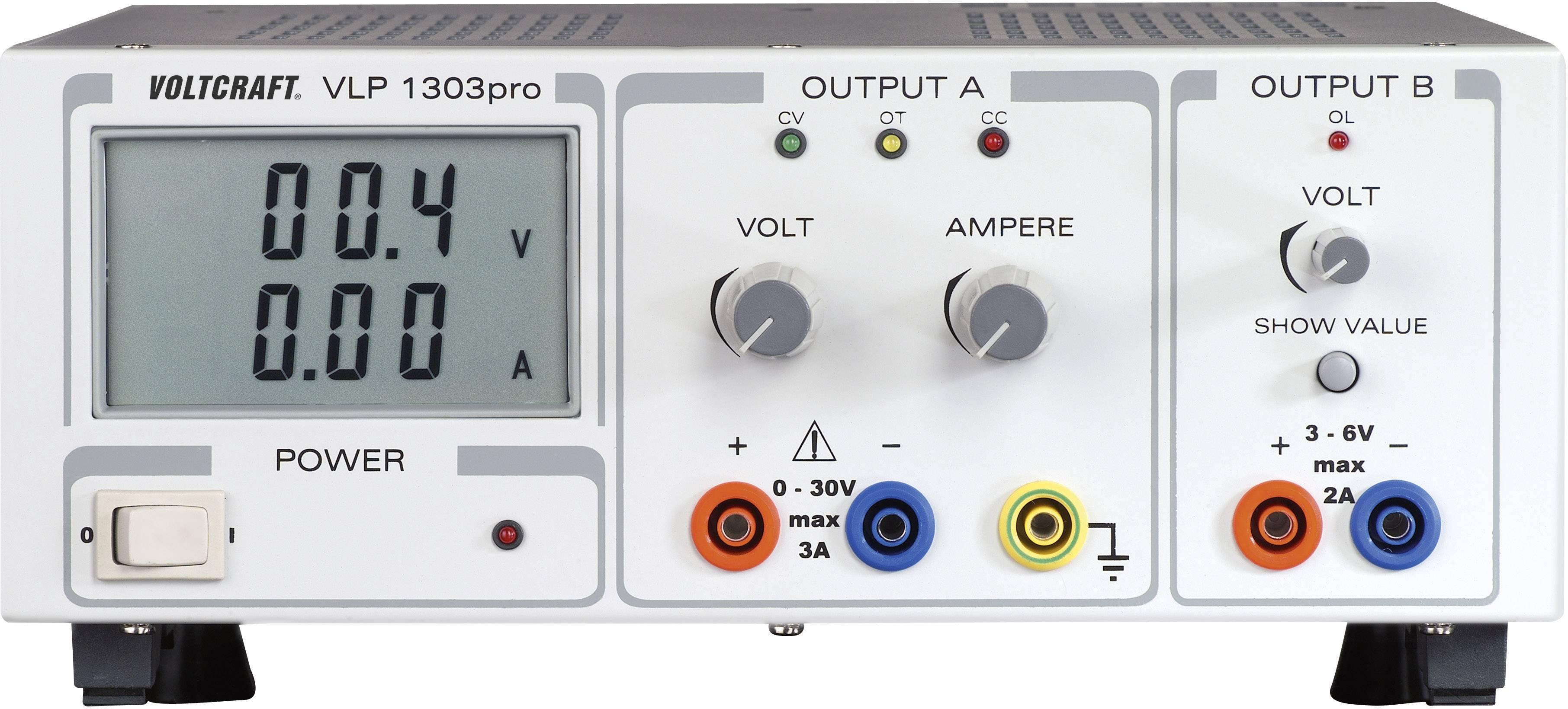 Lineárny laboratórny sietový zdroj Voltcraft VLP-1303pro, 0 - 30 V, 0 - 3 A