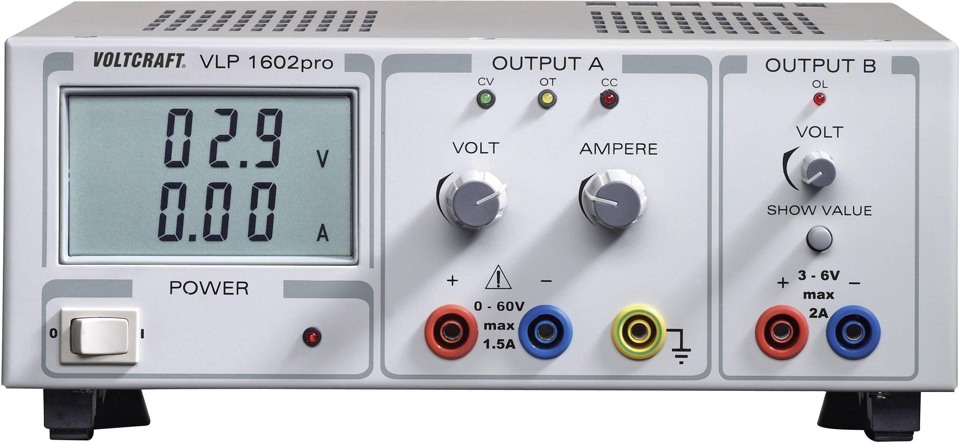 Lineárny laboratórny sietový zdroj Voltcraft VLP-1602pro, 0 - 60 V, 0 - 2 A