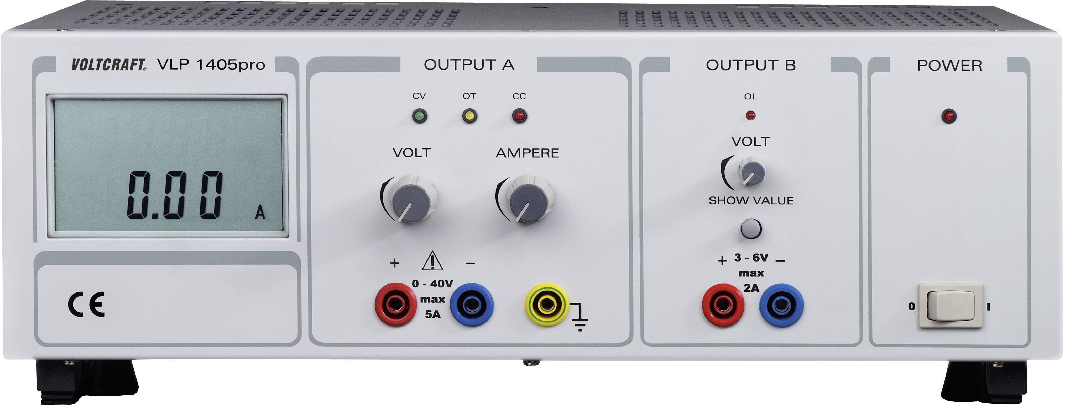 Lineárny laboratórny sietový zdroj Voltcraft VLP-1405pro, 0 - 40 V, 0 - 5 A