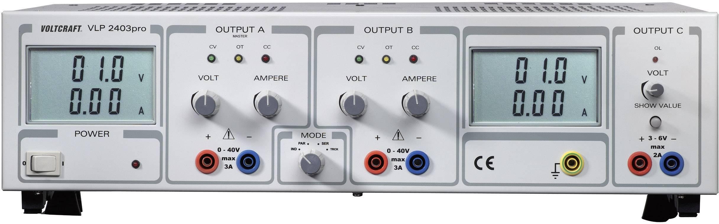 Lineárny laboratórny sietový zdroj Voltcraft VLP-2403pro, 0 - 40 V, 0 - 3 A