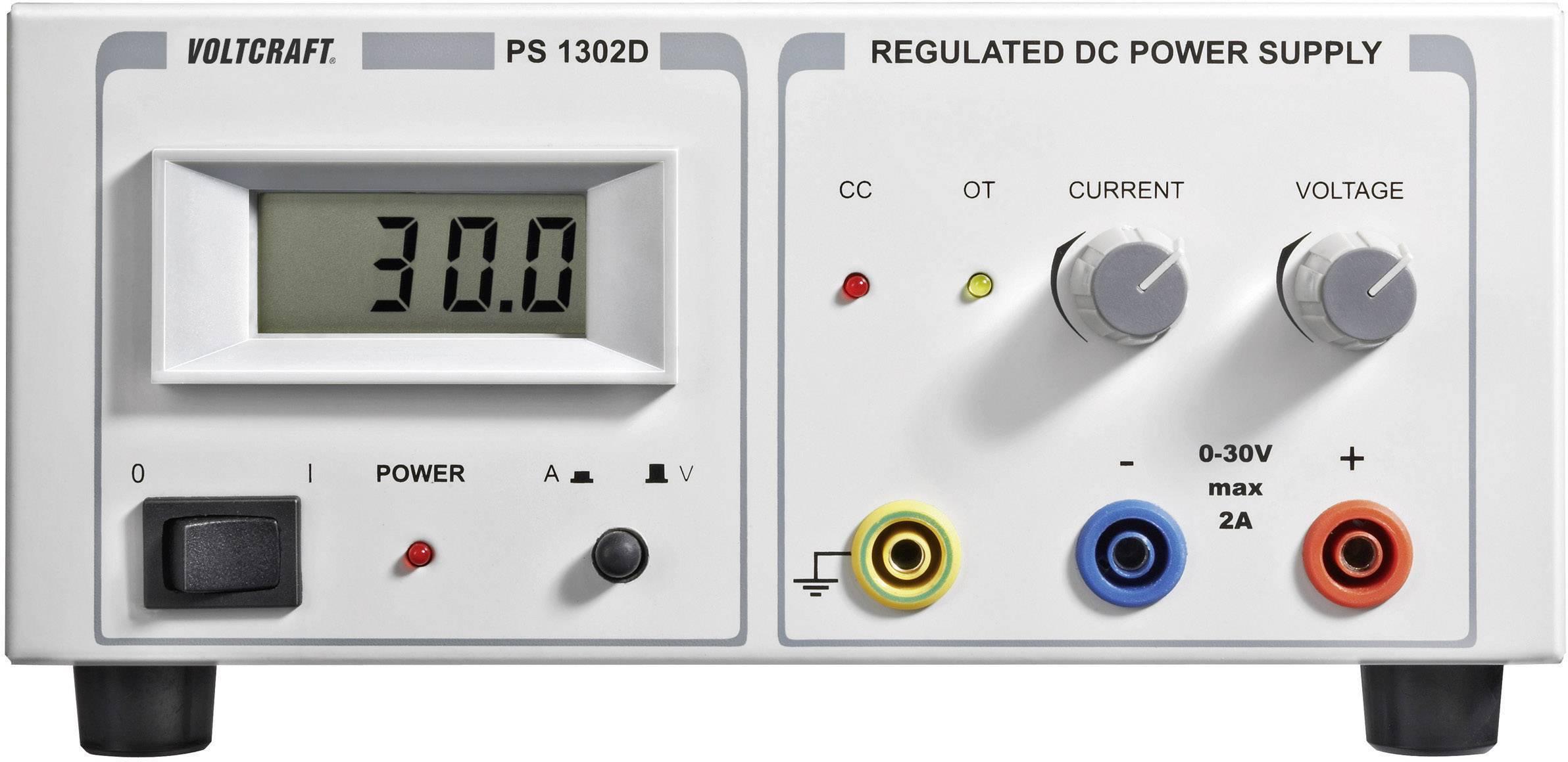 Laboratórny sieťový zdroj Voltcraft PS-1302 D, 0 - 30 VDC, 0 - 2 A