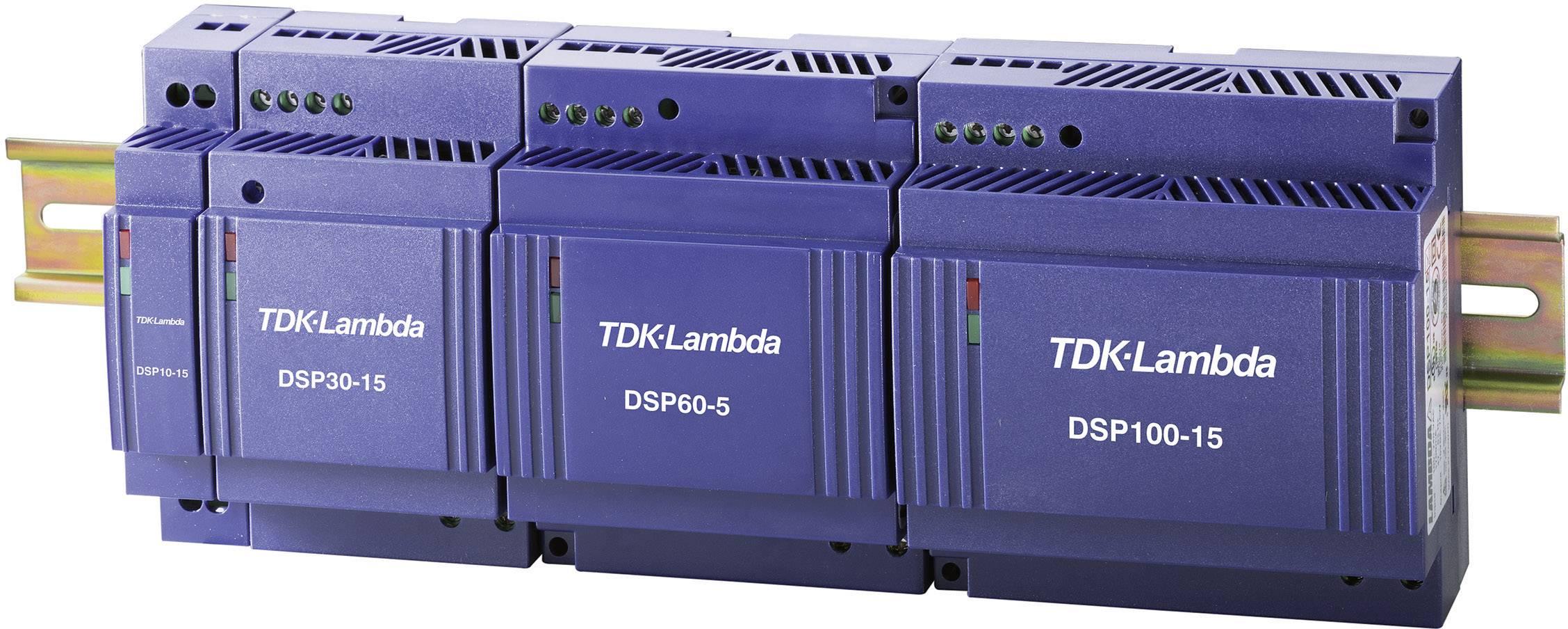 Sieťový zdroj na montážnu lištu (DIN lištu) TDK-Lambda DSP-60-15, 1 x, 15 V/DC, 4 A, 60 W