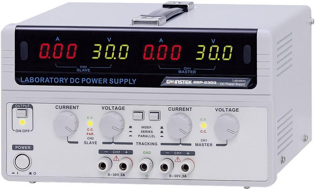 Dvojitý laboratórny zdroj GW Instek GPS-2303, 0 - 30 V/DC, 0 - 3 A, 180 W