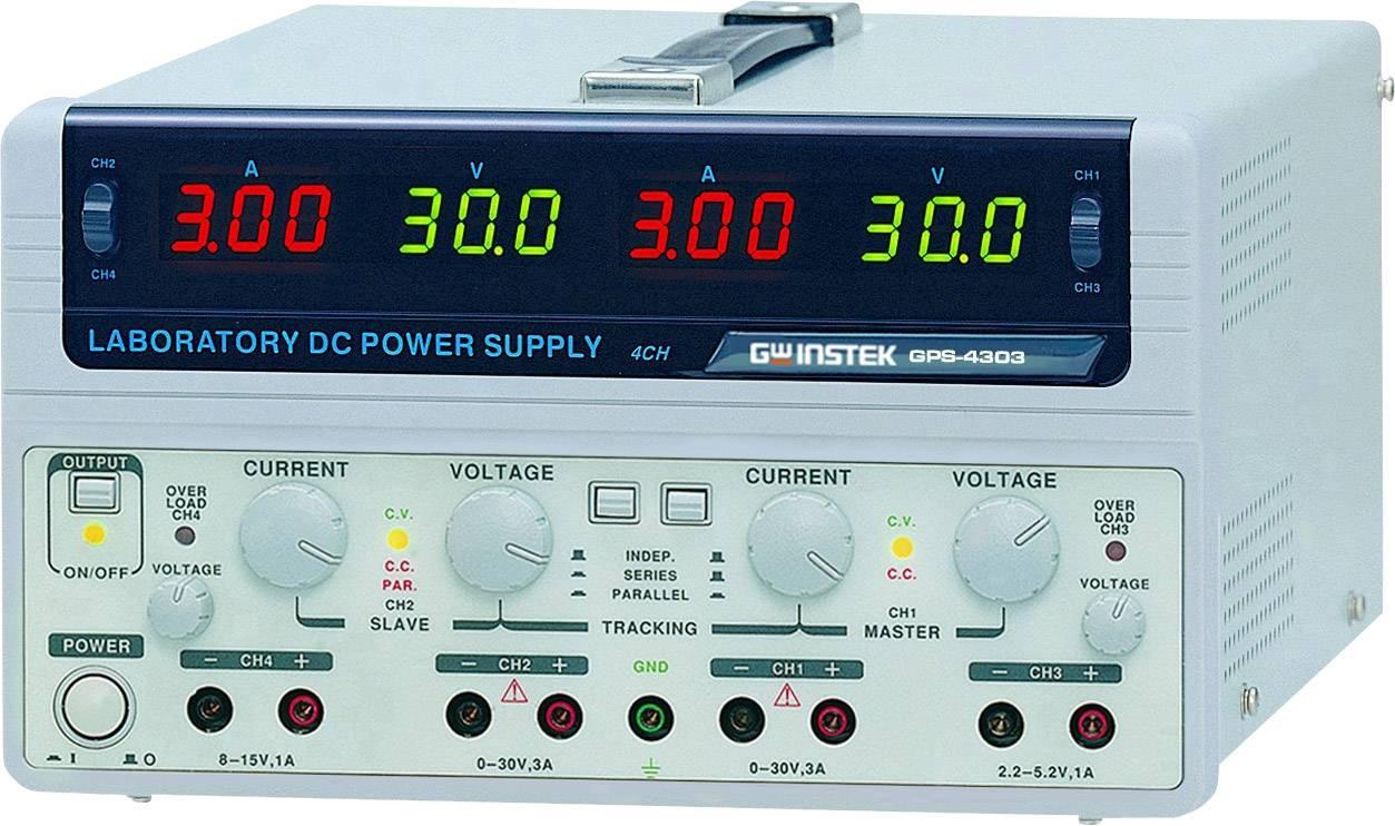 Dvojitý laboratórny zdroj GW Instek GPS-4303, 0 - 30 V/DC, 0 - 3 A, 200 W