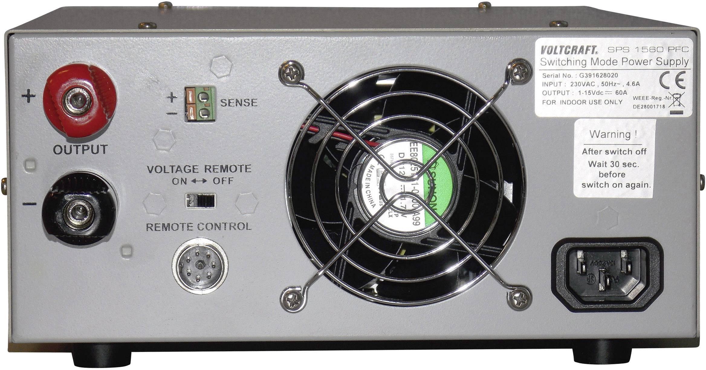 Spínaný laboratórny zdroj Voltcraft SPS-1560 PFC, 3 - 15 V, 60 A