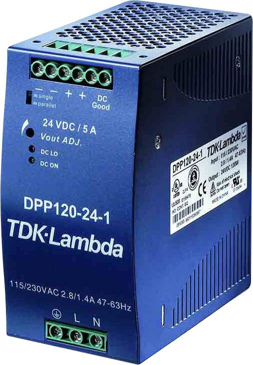 Sieťový zdroj na montážnu lištu (DIN lištu) TDK-Lambda DPP-120-24-3, 1 x, 24 V/DC, 5 A, 120 W
