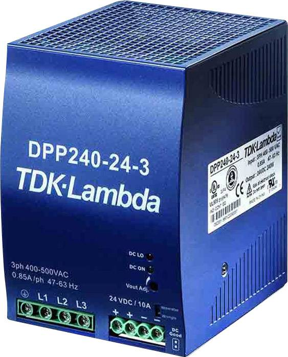 Sieťový zdroj na montážnu lištu (DIN lištu) TDK-Lambda DPP-240-24-3, 1 x, 24 V/DC, 10 A, 240 W