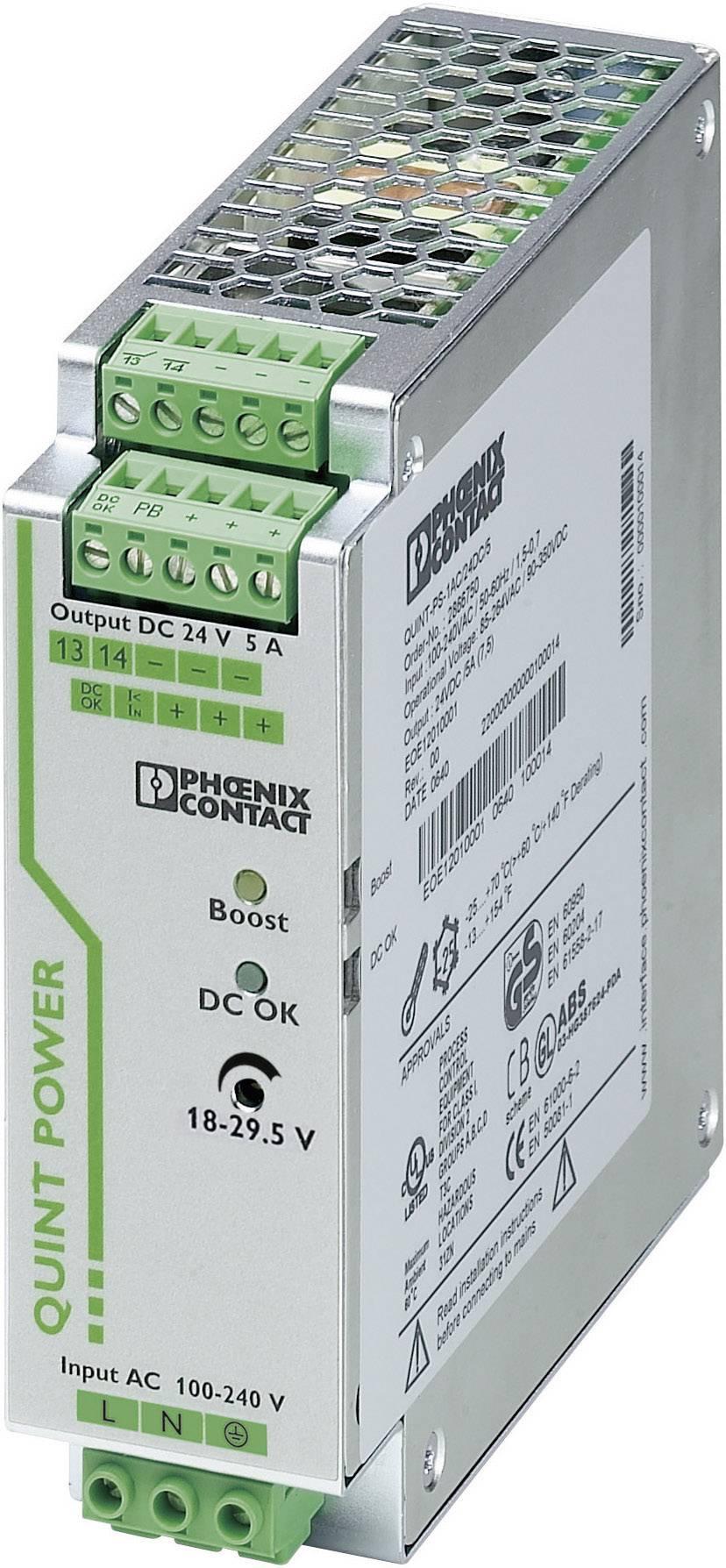 Zdroj na DIN lištu Phoenix Contact QUINT-PS/1AC/24DC/5, 5 A, 24 V/DC