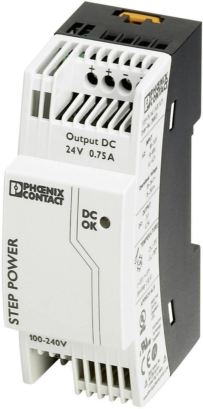 Sieťový zdroj na montážnu lištu (DIN lištu) Phoenix Contact STEP-PS/1AC/24DC/0.75, 1 x, 24 V/DC, 0.83 A, 18 W