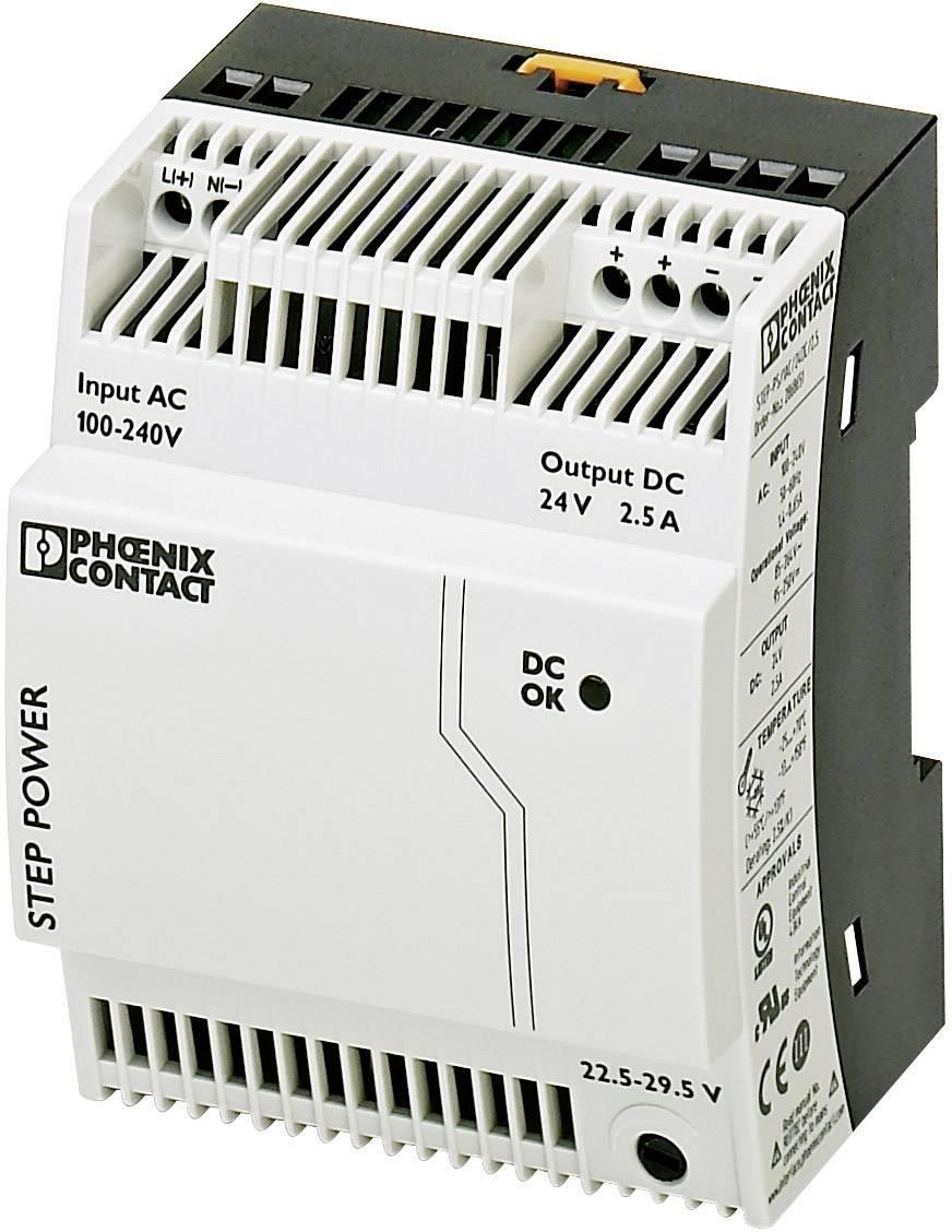 Sieťový zdroj na montážnu lištu (DIN lištu) Phoenix Contact STEP-PS/1AC/24DC/2.5, 1 x, 24 V/DC, 2.75 A, 60 W