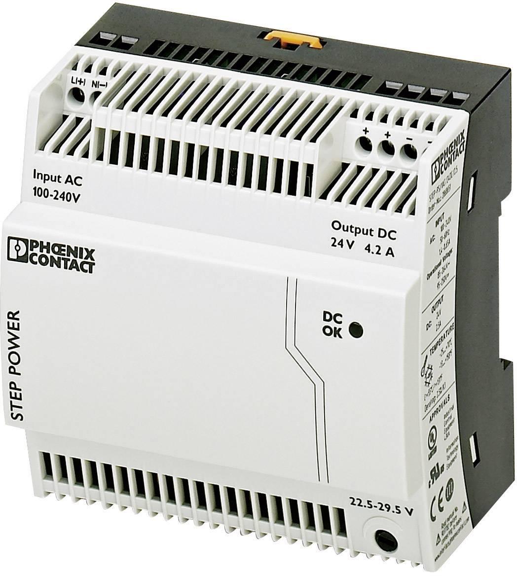 Sieťový zdroj na montážnu lištu (DIN lištu) Phoenix Contact STEP-PS/1AC/24DC/4.2, 1 x, 24 V/DC, 4.4 A, 100 W