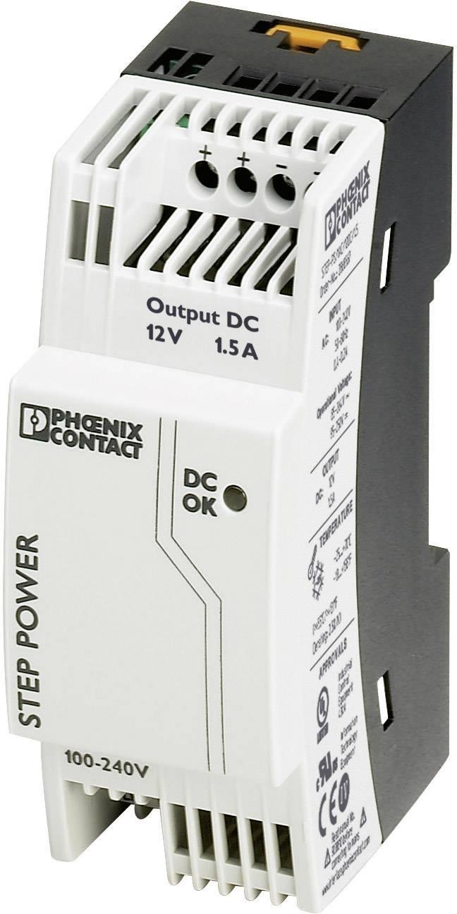 Sieťový zdroj na montážnu lištu (DIN lištu) Phoenix Contact STEP-PS/1AC/12DC/1.5, 1 x, 12 V/DC, 1.65 A, 18 W