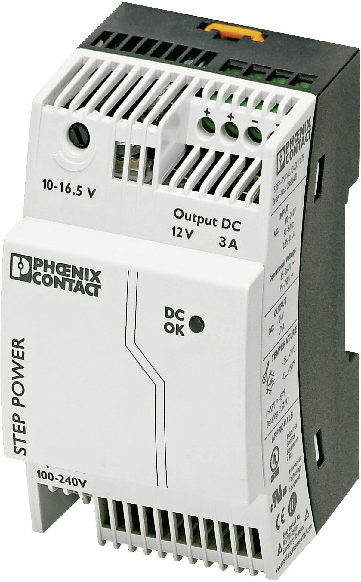 Sieťový zdroj na montážnu lištu (DIN lištu) Phoenix Contact STEP-PS/1AC/12DC/3, 1 x, 12 V/DC, 3.3 A, 36 W