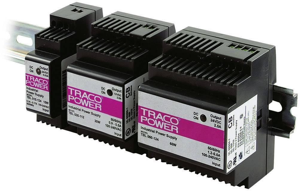 Sieťový zdroj na montážnu lištu (DIN lištu) TracoPower TBL 015-124, 1 x, 24 V/DC, 0.63 A, 15 W