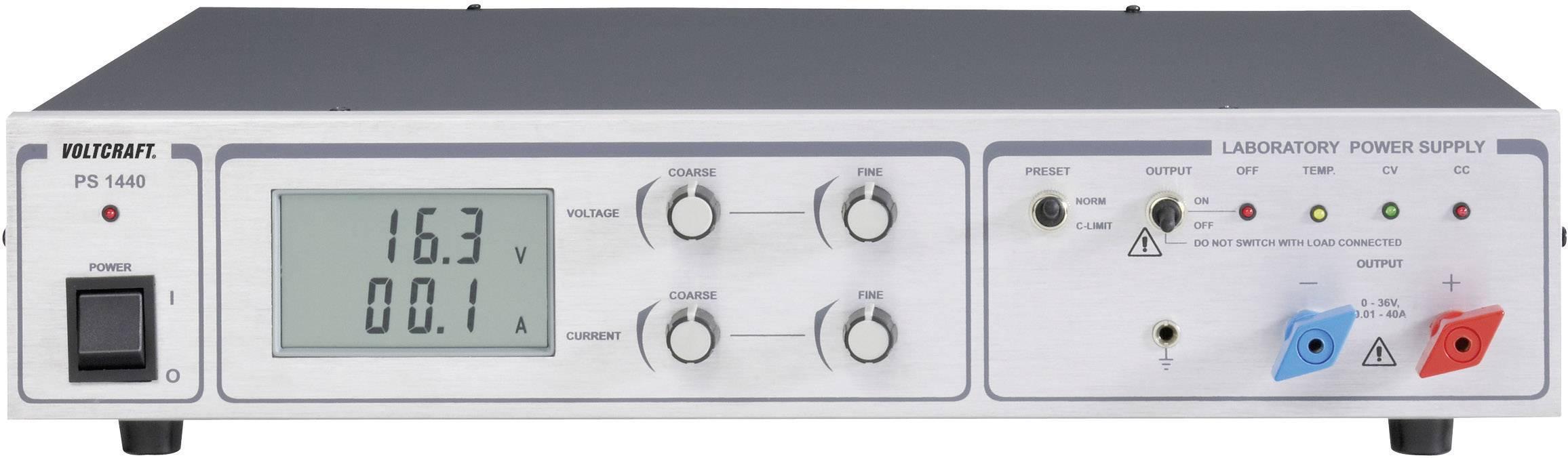 Nastaviteľný laboratórny zdroj Voltcraft PS-1440, 0 - 36 VDC, 0 - 40 A