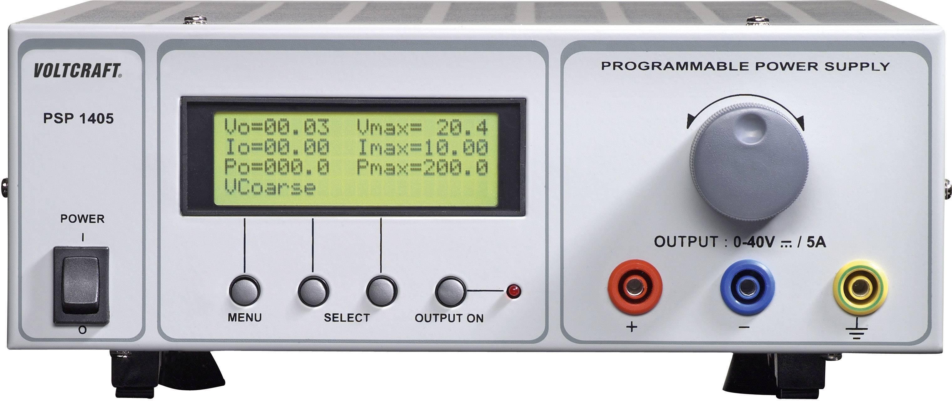 Programovateľný laboratórny sieťový zdroj Voltcraft PSP-1405, 0 - 40 VDC, 0 - 5 A