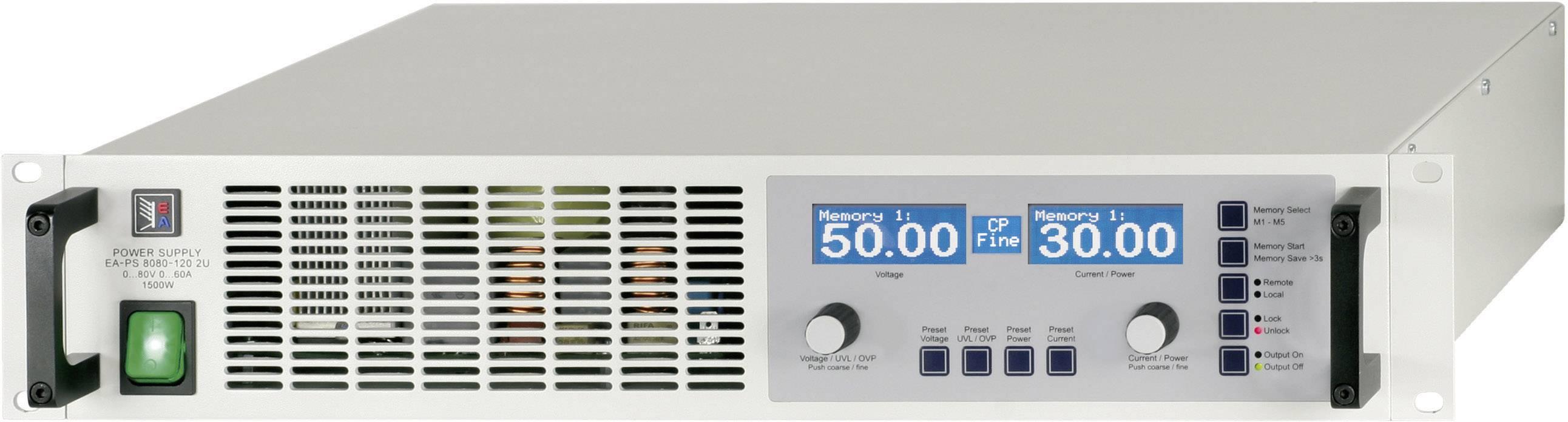 Regulovateľný laboratórny sieťový zdroj EA-PS 8080-120 2U, 0 - 80 V/DC, 0 - 120 A, 3000 W