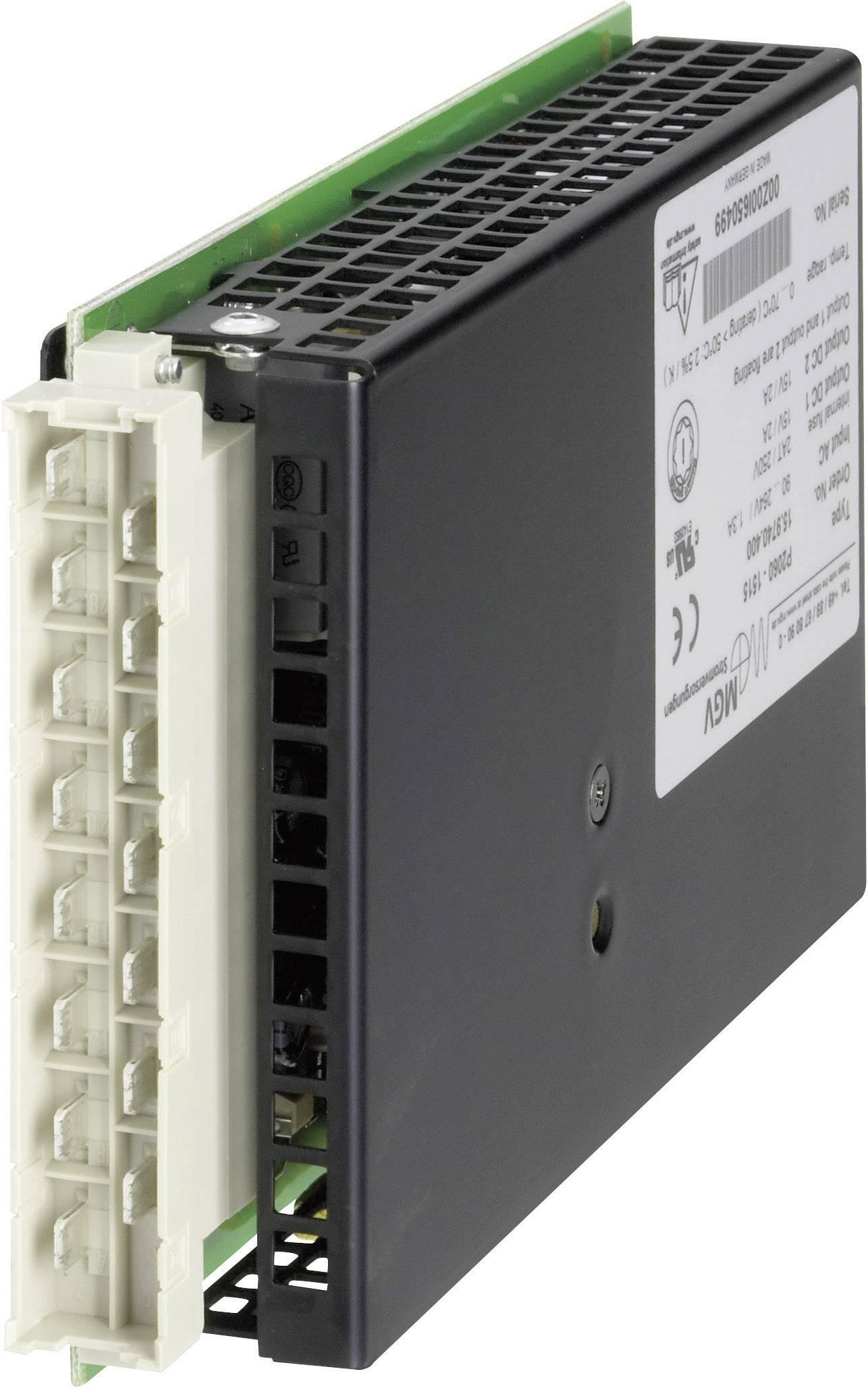 Vestavný spínaný síťový zdroj mgv P2060-1515 na DIN lištu,15 V/DC / 2.0 A