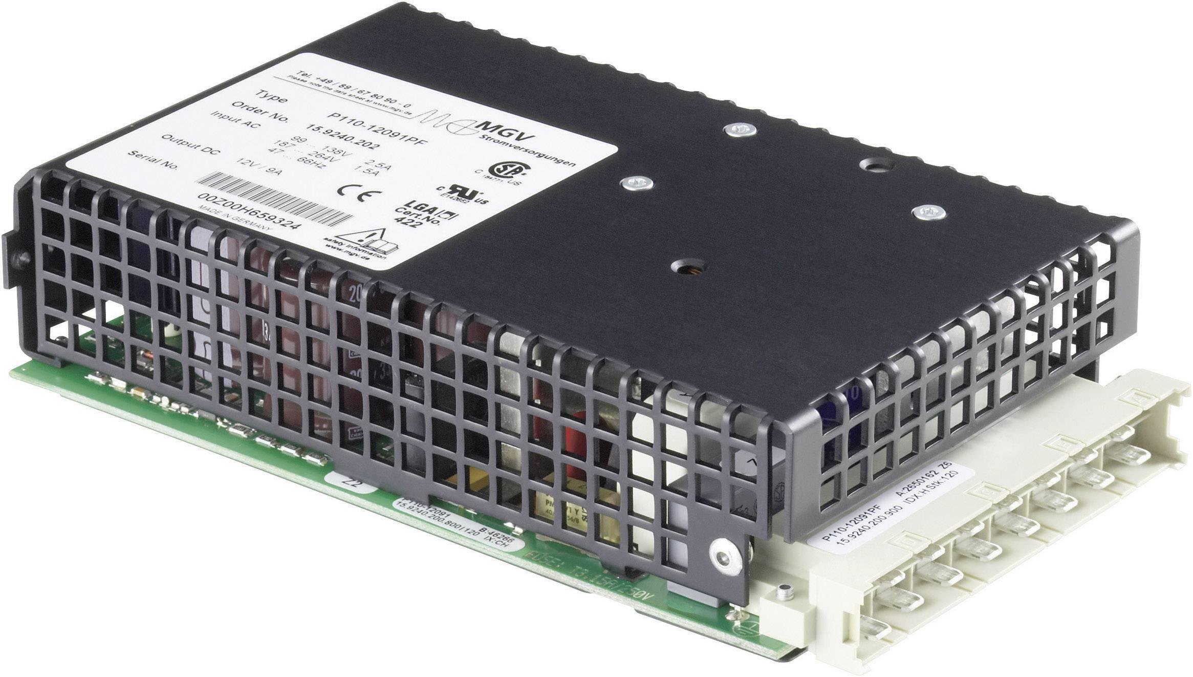 Vestavný spínaný síťový zdroj mgv P110-24051PF na DIN lištu, 24 V/DC / 5.0 A