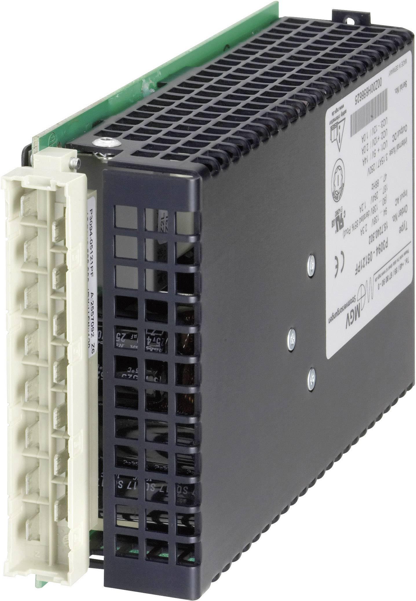 Vestavný spínaný síťový zdroj mgv P110-15071PF na DIN lištu, 15 V/DC / 7.0 A