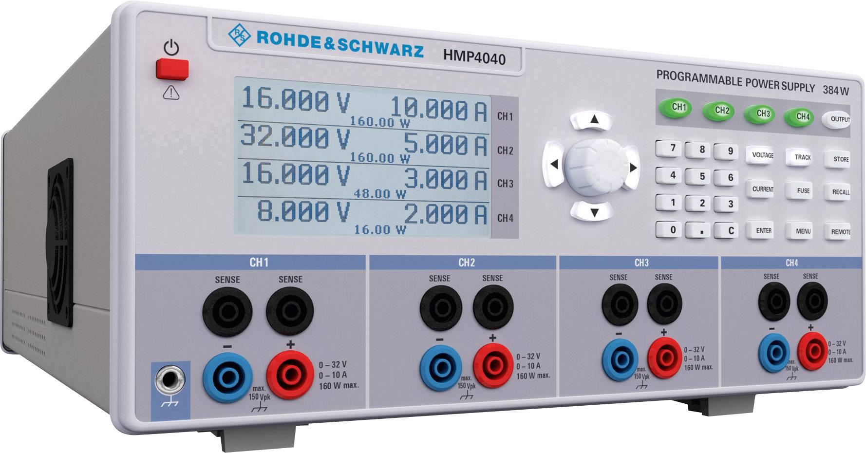 Laboratórny zdroj s nastaviteľným napätím Rohde & Schwarz HMP4040, 0 - 32 V/DC, 0 - 10 A, 384 W