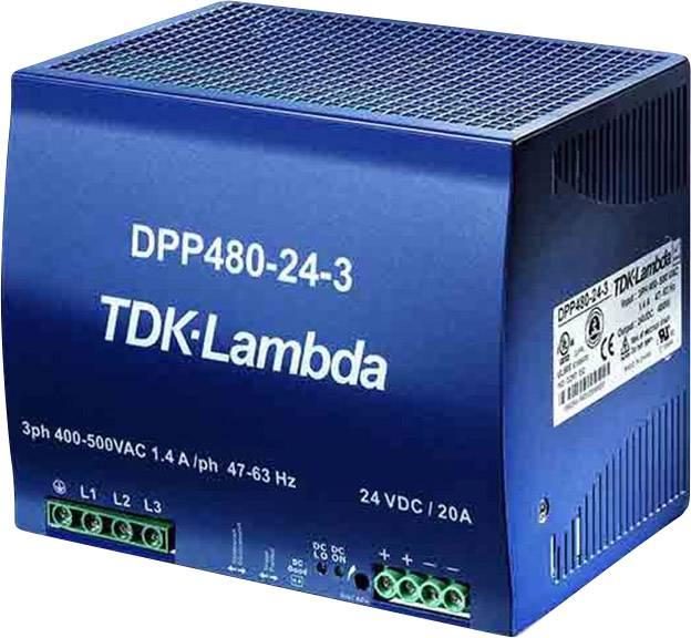Sieťový zdroj na montážnu lištu (DIN lištu) TDK-Lambda DPP-480-24-3, 1 x, 24 V/DC, 20 A, 480 W