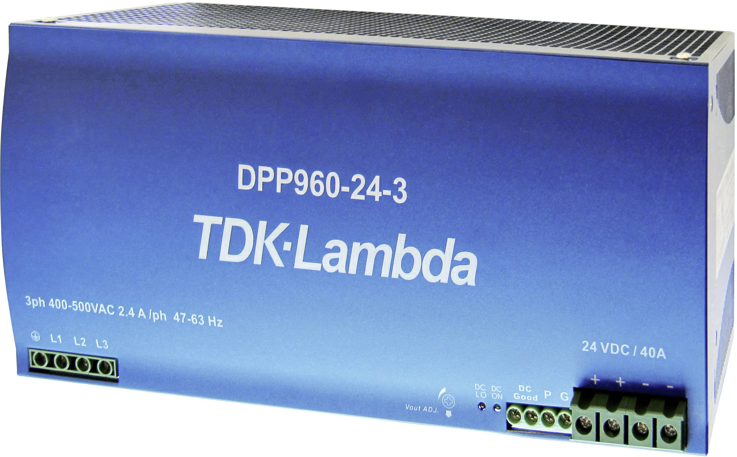Sieťový zdroj na montážnu lištu (DIN lištu) TDK-Lambda DPP-960-24-3, 1 x, 24 V/DC, 40 A, 960 W