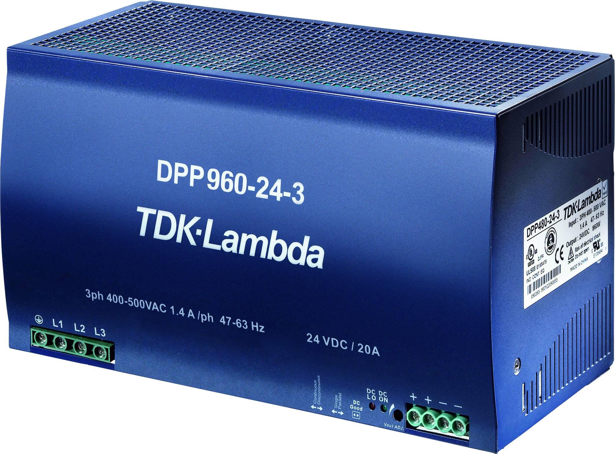 Sieťový zdroj na montážnu lištu (DIN lištu) TDK-Lambda DPP-960-48-3, 1 x, 48 V/DC, 20 A, 960 W