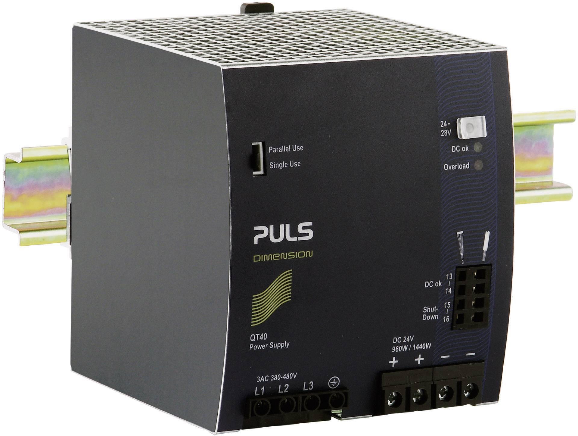 Sieťový zdroj na montážnu lištu (DIN lištu) PULS DIMENSION QT40.241, 1 x, 24 V/DC, 40 A, 1440 W