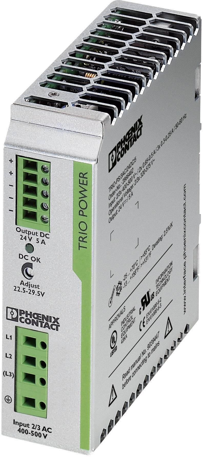 Sieťový zdroj na montážnu lištu (DIN lištu) Phoenix Contact TRIO-PS/3AC/24DC/5, 1 x, 24 V/DC, 5 A, 120 W