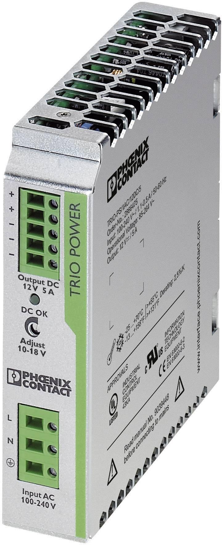 Sieťový zdroj na montážnu lištu (DIN lištu) Phoenix Contact TRIO-PS/1AC/12DC/5, 1 x, 12 V/DC, 5 A, 60 W