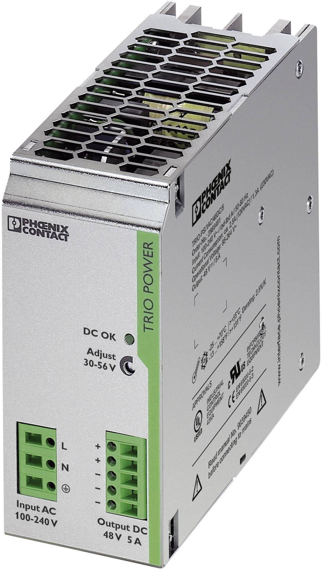 Zdroj na DIN lištu Phoenix Contact TRIO-PS/1AC/48DC/5, 48 V/DC, 5 A