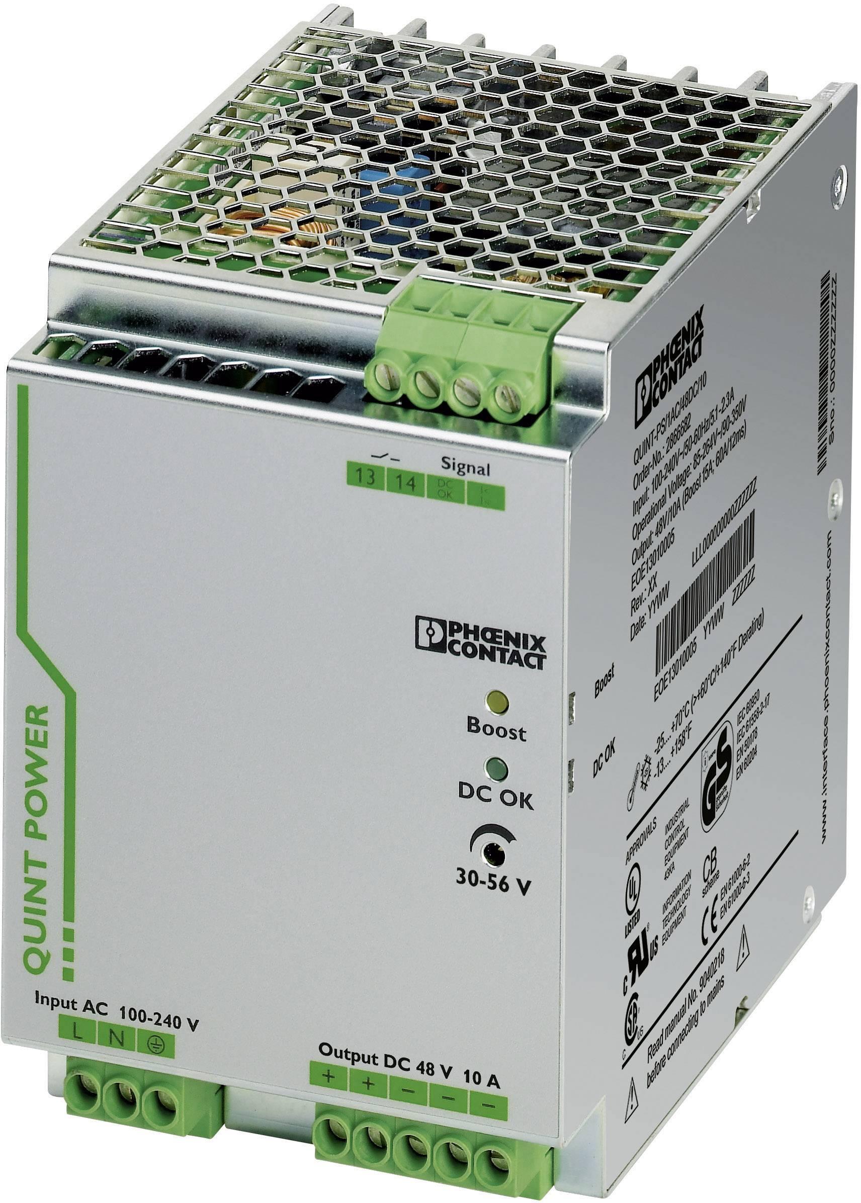 Zdroj na DIN lištu Phoenix Contact QUINT-PS/1AC/48DC/10, 10 A, 48 V/DC