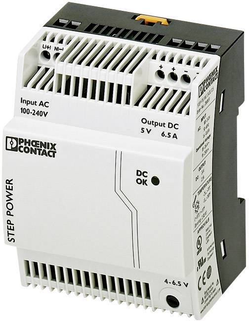 Sieťový zdroj na montážnu lištu (DIN lištu) Phoenix Contact STEP-PS/1AC/5DC/6.5, 1 x, 5 V/DC, 6.5 A, 32.5 W