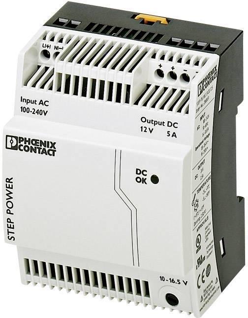 Sieťový zdroj na montážnu lištu (DIN lištu) Phoenix Contact STEP-PS/1AC/12DC/5, 1 x, 12 V/DC, 5 A, 60 W
