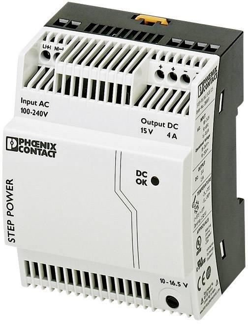 Sieťový zdroj na montážnu lištu (DIN lištu) Phoenix Contact STEP-PS/1AC/15DC/4, 1 x, 15 V/DC, 4 A, 60 W