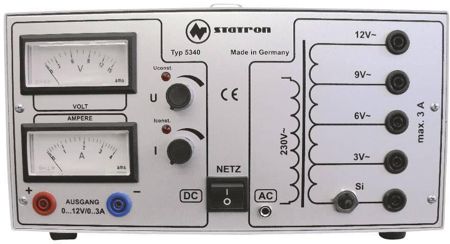Lineární laboratorní zdroj Statron 5340.1, 0 - 12 V, 0 - 3 A