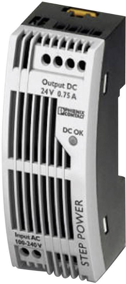 Sieťový zdroj na montážnu lištu (DIN lištu) Phoenix Contact STEP-PS/1AC/24DC/0.75/FL, 1 x, 24 V/DC, 0.83 A, 18 W