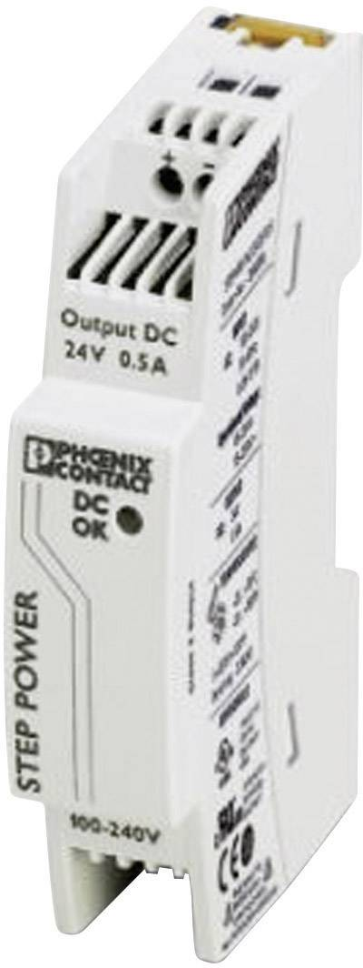Sieťový zdroj na montážnu lištu (DIN lištu) Phoenix Contact STEP-PS/1AC/24DC/0.5, 1 x, 24 V/DC, 0.55 A, 18 W