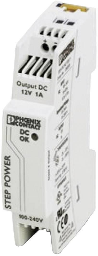 Sieťový zdroj na montážnu lištu (DIN lištu) Phoenix Contact STEP-PS/1AC/12DC/1, 1 x, 12 V/DC, 1.1 A, 12 W