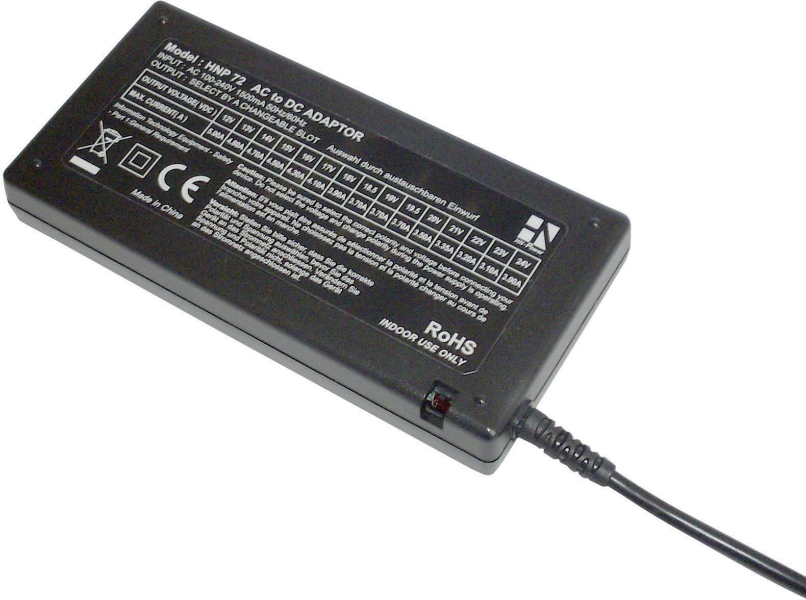 Univerzální síťový adaptér HN Power HNP72-Uni, 12 - 24 VDC, 72 W