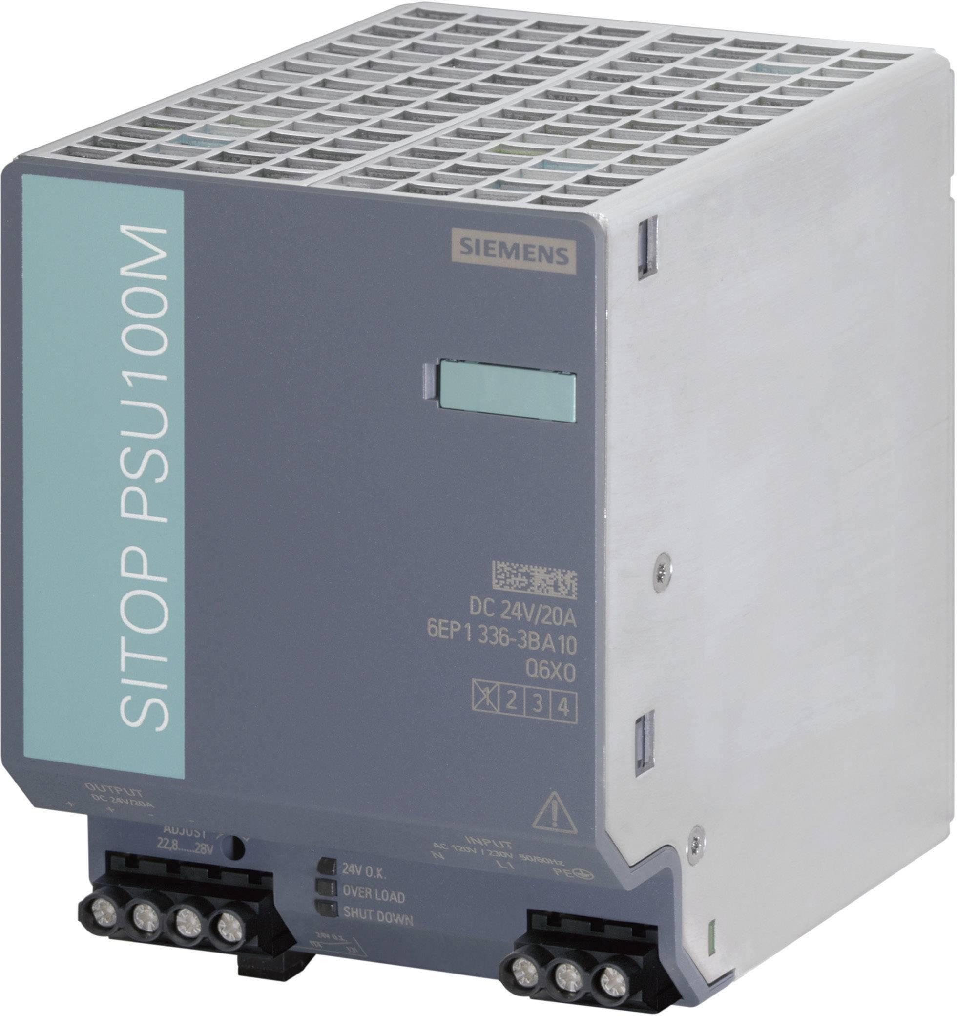 Zdroj na DIN lištu Siemens SITOP PSU100M, 24 V/DC, 20 A