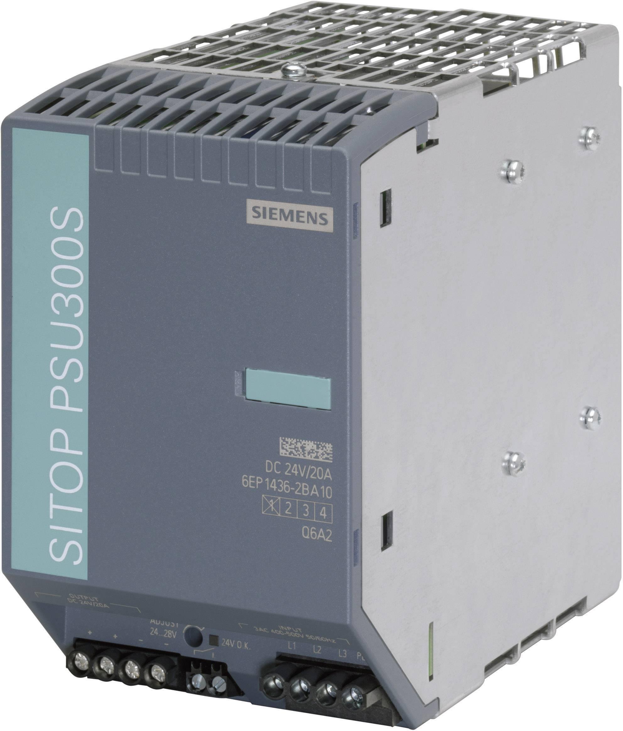 Sieťový zdroj na montážnu lištu (DIN lištu) Siemens SITOP PSU300S 24 V/20 A, 1 x, 24 V/DC, 20 A, 480 W