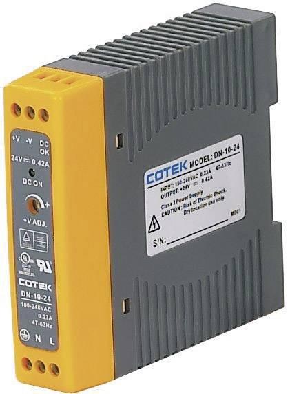 Sieťový zdroj na montážnu lištu (DIN lištu) Cotek DN 10-15, 1 x, 15 V/DC, 0.67 A, 10 W
