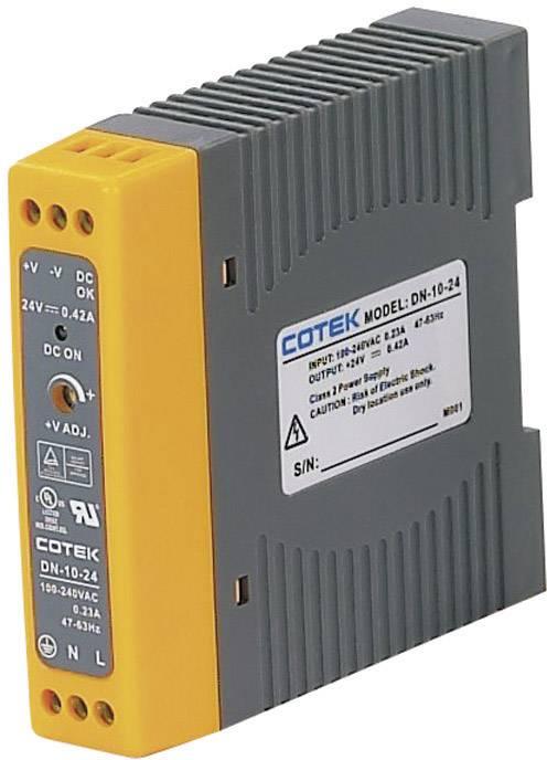 Sieťový zdroj na montážnu lištu (DIN lištu) Cotek DN 10-24, 1 x, 24 V/DC, 0.42 A, 10 W