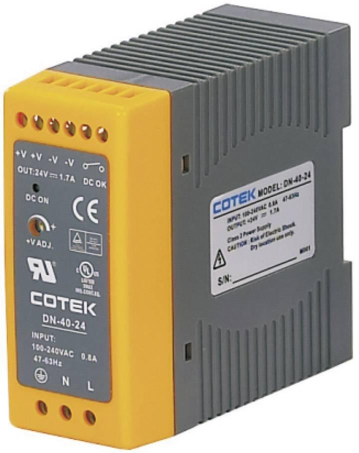 Sieťový zdroj na montážnu lištu (DIN lištu) Cotek DN 40-24, 1 x, 24 V/DC, 1.7 A, 40.8 W
