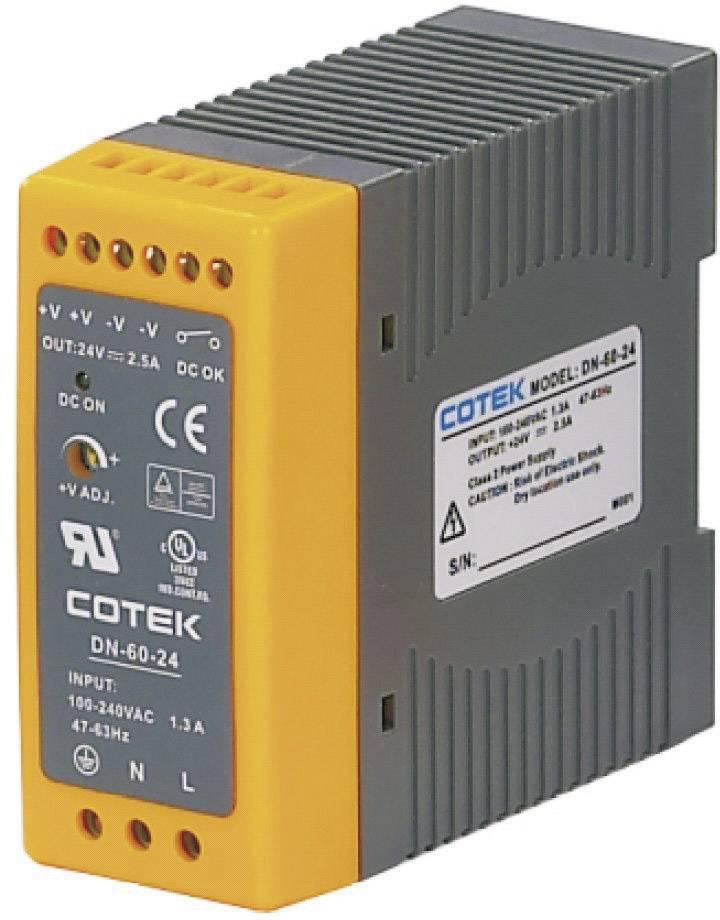 Sieťový zdroj na montážnu lištu (DIN lištu) Cotek DN 60-24, 1 x, 24 V/DC, 2.5 A, 60 W